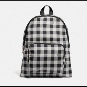 NEW COACH packable backpack w gingham print